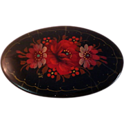 SALE Russian Black Lacquered Handpainted  OVAL Floral Brooch