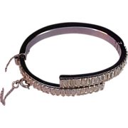 SALE Showstopper OLD HOLLYWOOD Diamante Baguette & Hinged Chaton Clamper Bangle