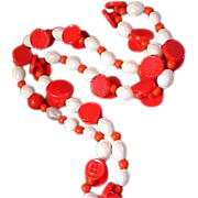 SALE 1950's Red & White Celluloid Varied Shapes NECKLACE