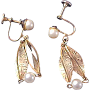 SALE Elegant Dangle Simulated Pearls in Gilt Gold Cages Earrings