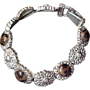 SALE SLIDE BRACELET ~ Glass TOPAZ Stones & Antiqued Silver Plate ~ 10 Link Bracelet
