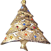 SALE Bezel Set Rhinestone CHRISTMAS TREE ~ Textured Gold Plate Brooch