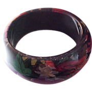 SALE Laminate over Glass Wide Bangle Cuff Bracelet