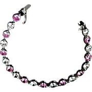 SALE STERLING Genuine Pink Sapphire & Clear Cubic Zirconia~Signed TM - FAL BRACELET