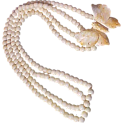 SALE 113.9 gr~Natural Hand Carved BONE~ BUTTERFLY Two Strand 10 mm Bone Bead Necklace