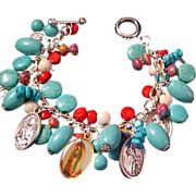 SALE Our LADY of GUADALUPE Turquoise & Red Coral Religious Bracelet