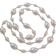 SALE Simulated GLASS PEARLS~ Oval and Gold Glass Bead Spacers Necklace