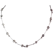SALE Bezel Set Crystals ~ Silver Tone Necklace