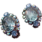 SALE Topaz Blue Faceted Rhinestone & AB Chatons Clip Earrings