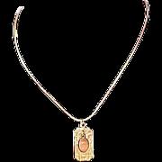 SALE 14K Gold Plate Dangle Engravable Pendant & Herringbone  Chain ~ 2-Sided