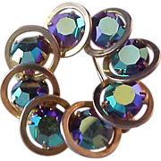 SALE Fabulous Ring of Aurora Borealis Bezel Set Stones Brooch