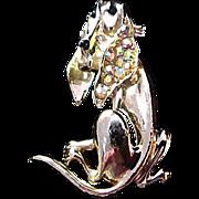 SALE Hilarious HOUND DOG~Aurora Borealis~Enamel Gold Plate Figural Brooch