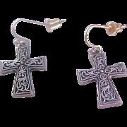 SALE Retro Black and Silver Plate CROSS Shepard's Wire earrings