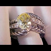 SALE Glamorous Simulated Yellow Diamond Fashion Ring~ Silver Plate~ Rope Design~Sz 10