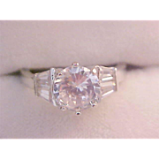 SALE Fabulous Cubic Zirconia Round Cut & Keystone  Engagement or Fashion Ring ~ Sz 7 1/2