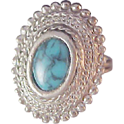 SALE Lavish Simulated  Marcasite~ SPIDER TURQUOISE Ring ~ size  6