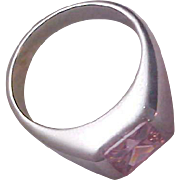 SALE Lavish Square Cut Simulated Pink Sapphire~October Birthstone~Silver Plate Ring~Size 8 1/2