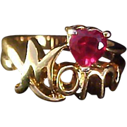 "SALE Precious Red Ruby Simulated HEART Gold Plate Script ""MOM"" Gold Plate Ring."