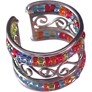 SALE Ultra Fabulous~Crystal Multicolor  Bead Wide Band Ring 7 ~Adjustable