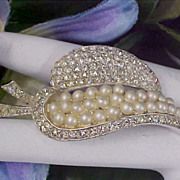 SALE Phenomenal Pave Diamante & Simulated Seed Pearl Silver Plate Brooch