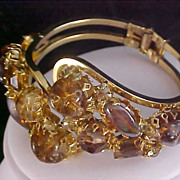SALE TOPAZ & COGNAC Exquisite Rhinestone Clamper Bangle Bracelet