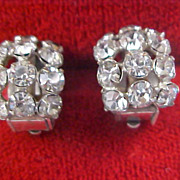 SALE Mid Century Art Deco Diamante Huggie Clip Earrings