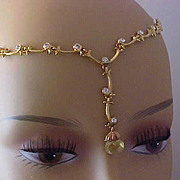 SALE Charming Amber Crystal (embedded MUSTARD SEED) Diamante Links Necklace~by AVON