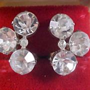 SALE ART DECO - HEADLIGHT Diamante Silver clip Earrings