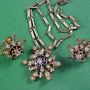 SALE Unsigned CORO Pendant w/Fleur-de-Lis   - Chain & Screw Back Earrings