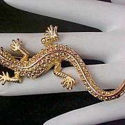 SALE Charming LIZARD Gold Plate Faux Marcasite Brooch