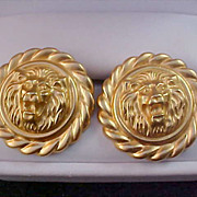 SALE LION Faces Yellow Gold Plate Post Earrings