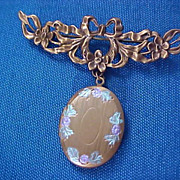 SALE REDUCED~VICTORIAN Style GOLD PLATE Enamel Florals  Dangle Oval LOCKET Repousse Brooch