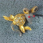 SALE Gray & Red Enamel & Rhinestone Figural  MOUSE Pin