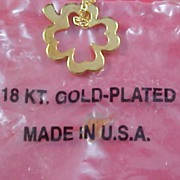 SALE 18KT Gold Plated Floating Shamrock Pendant & Chain  - St. Patrick's Day