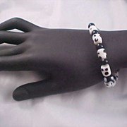 SALE Black & White POLKA DOT Glass Bead Bracelet