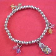 "SALE Little Girl ""FLIP FLOP""  & Crystals Silver Plate Charm Bracelet"
