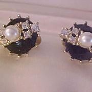 SALE Diamante Chatons~Sim Pearl ~ Black Enamel Screw Back Earrings