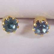 SALE Charming AQUAMARINE Swarovski Austrian Crystal Stud Post Earrings ~ Post Earrings - New/O