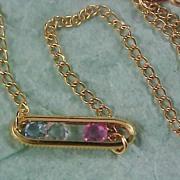SALE AVON - Slide Three Crystals  Gilt Gold Bracelet