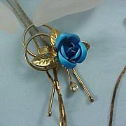 SALE ASK For 50% Off~ CORNFLOWER BLUE & Diamante Slide Herringbone Necklace