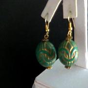 SALE Aqua Gold Etched Egg Shape Shepard Wire Dangle Earrings