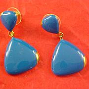 SALE Blue Dangle Enamel Post  & Gold Plate  Earrings