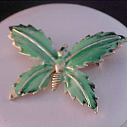 SALE Free Ship ~ Amazing WHIMSICAL BUTTERFLY~ Green Hard Enamel/Gold Plate