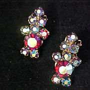 SALE D & E JULIANA~ Fabulous Lavish Aurora Borealis Clip Earrings