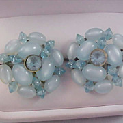 SALE Hand Wired Blue Mother-of-Pearl  Clip Earrings