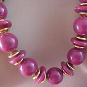 SALE DYNAMIC DUSTY ROSE Graduated Beads & Gilt Spacer Long Sautoir Necklace - Circa 1950