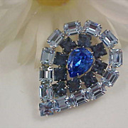 SALE D & E~JULIANA~Exquisite Blue Topaz & Blue Sapphire Rhinestone Exceptional Brooch