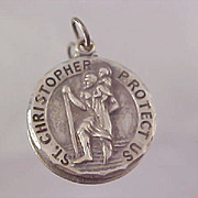 SALE ST CHRISTOPHER~ Signed Sterling Silver & 925 Religious Medal/Pendant