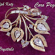 SALE Ultra Dazzle~ADOLPH KATZ~Coro Pegasus ~ Ultra Crystal g=Gold Plate  Brooch