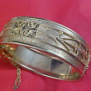 SALE Gilt Gold Ornate Design ~  Signed BABE RUTH ~  Safety Chain Hinged Cuff  Bangle